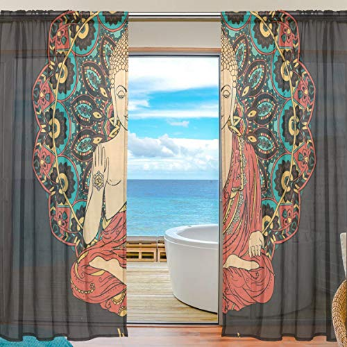 Buddha Meditation Window Drapes Decorative Window Curtains, Voile Sheer Curtain for Bedroom Living Room or Room Divider, Set of 2 Panels