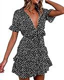 Mono de verano para mujer, sexy, manga corta, cuello en V, margaritas, estampado de flores, línea en A, falda plisada, ropa suelta con lazo. Negro XL