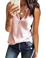 Womens Tank Tops V Neck Waffle Knit Summer Casual Sleeveless Loose Tee Shirts (Large, Pink)