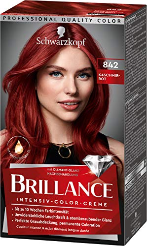 Brillance Intensiv-Color-Creme Haarfarbe 842 Kaschmirrot Stufe 3, 3er Pack(3 x 160 ml)