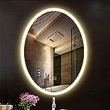 XLY Espejo de Entrada Cuarto de baño Espejo de Pared LED de luz montado Interruptor Oval sin Marco Espejo de baño táctil (Size : 50 * 70cm)