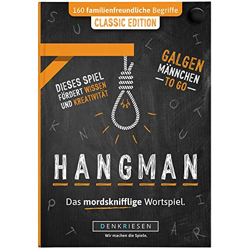 DENKRIESEN - Hangman - Classic Edition - Galgenmännchen to GO | Spielblock | Partyspiel | Reisespiel | Wichtelgeschenk | Geschenkidee | Rätselblock - Spiel ab 2 Personen