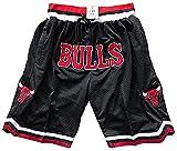 GDFSG Pantalones Cortos Bulls para Hombre, Pantalones Cortos clásicos, Uniforme de Baloncesto, Malla, Baloncesto, Retro, Chicago Bulls, Pantalones Cortos Deportivos Swingman(L,Negro)