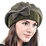 HISSHE Lady French Beret 100% Wool Beret Chic Beanie Winter Hat HY022 (Green)