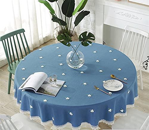 Cozomiz Tela de lino de algodón embroidey flores de tela de mesa con dobladillo de encaje para mesa redonda cubierta protectora Tapiz moderno mantel decorativo azul marino Diámetro: 35 pulgadas