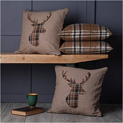 Red Rainbow Set of 4 Tartan Stag & Tartan Check Latte Beige Collection 18 Inch/ 45cm Cushion Covers