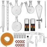 VEVOR 29PCS GG-17 Kit per Vetreria di Laboratorio Kit per Vetreria di Laboratorio per Chimica Avanzata per la Separazione per Distillazione di Purificazione per Distillazione con Connessioni Tagliate