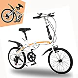 20In Folding Bike, Road and Mountain Road Self-Supporting, 7 Speed, City Mini Compact Bicycle, Commuter Ultra-Light Leisure Bicycle,Foldable Variable Speed, RNB-212(US Stock) - Zasekb Bike (Orange)