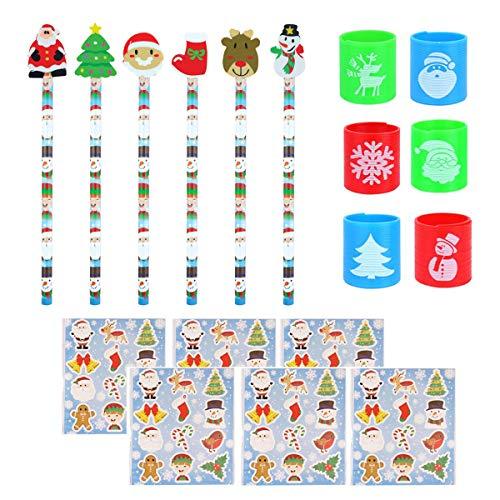KINPARTY - Juguetes de Navidad - 6 Lápices 6 Pegatinas y 6 Muelles