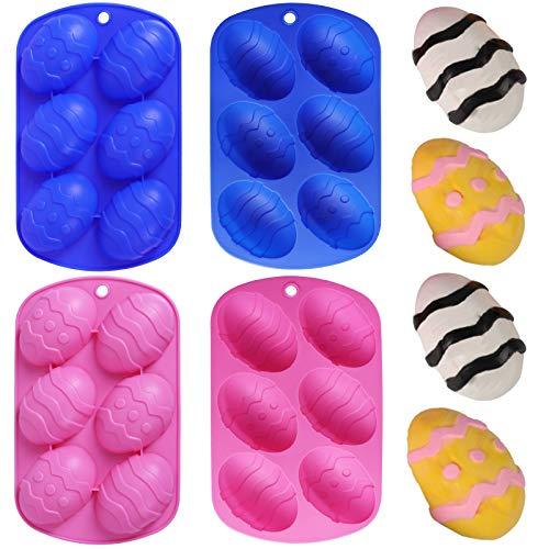 Homyplaza 4Pcs Easter Egg Shaped Silicone Cake Mold, 6-Cavity Easter Diy Cooking Supplies for...