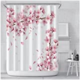 Rosa Kirschblüte Pfirsichblüten Duschvorhang Weißer Hintergr& Mädchen Badezimmer Wasserdicht Polyester Tuch Display Mit Haken Set 180x180cm