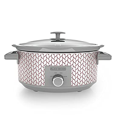 BLACK+DECKER SC3007D Slow Cooker, 7 Quart, Dial Control, Purple & Silver Leaf Pattern