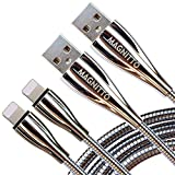 MAGNITTO USB 6FT Charger Cable Durable Metal Braided Cord, 2 Pack Extra Long, Copper Wire, Tangle-Free, Fast Charging and Data sync at high Speed, Premium Metal Connector, Silver Color