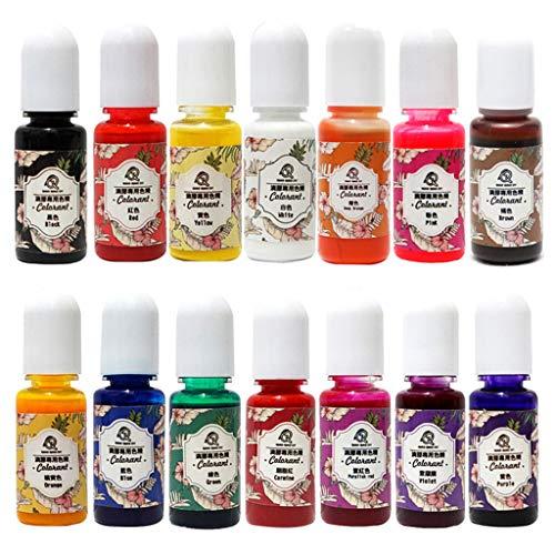 Viesky 14 Stks/Set UV Hars Kleurplaten Pigment DIY Crystal Epoxy Hoge Transparantie Vette Kleurstof voor Ambachten maken Vullen