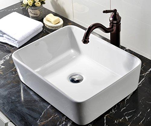 VCCUCINE Rectangle Above Counter Porcelain Ceramic Bathroom Vessel Vanity Sink Art Basin