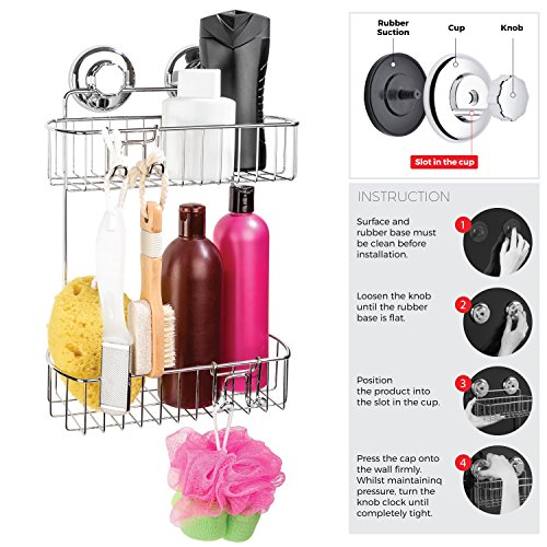 Suction Cup - Stainless Steel 2Tier Basket for Bathroom