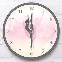 JHJUH Wall Clock Morden Desgin Pink Ballerina Dancing Girls Wall Clock with Black Metal Aluminum Frame Sleek Girl Bedroom Decorative Horloge Klok