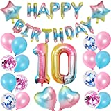 10 globos de decoración de cumpleaños arco iris, globos para el número 10 cumpleaños rosa niña mujer con pancarta 'Happy Birthday', globos con número 10 + estrella de corazón, globos y confeti