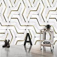 Iusasdz カスタム壁画壁紙モダンな抽象的な幾何学的な金属パターン壁画リビングルーム寝室の背景壁の装飾-250X175Cm
