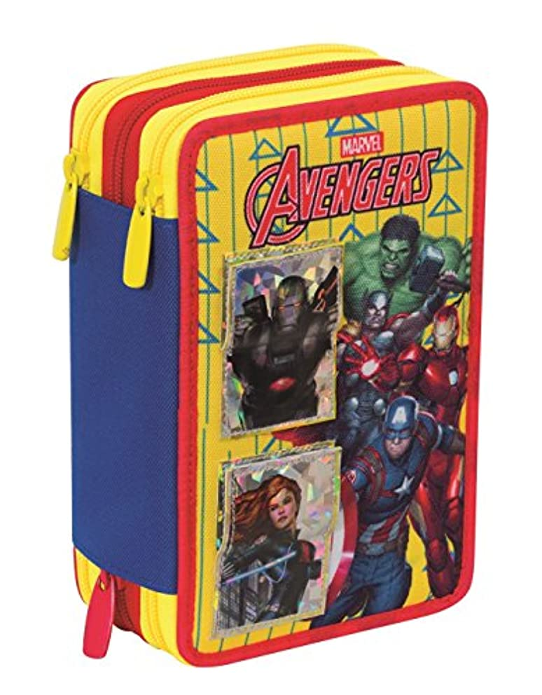 3 ZIP Pencil Case - MARVEL - AVENGERS - Multi-Layer with pencils, pens, felt tips, eraser Magnetic Cards - Yellow Red