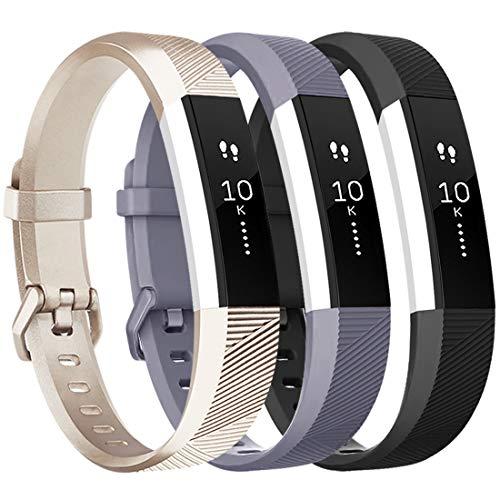 Tobfit - Cinturino morbido regolabile per Fitbit Alta e Fitbit Alta HR (fitness tracker non incluso), Confezione da 3 colori: oro champagne, nero e grigio., s