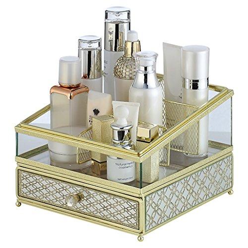 WSGZH Cosmétiques Organisateur Cosmétiques Boîte De Rangement Cosmétiques Présentoir Bijoux Boîte De Rangement Tiroir (Color : Gold, Size : 21 * 22 * 16CM)