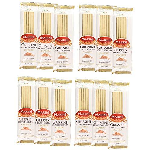 Marini Classic Italian Breadsticks - 12 Pack - Grissini Stirati Torinesi - Product of Italy