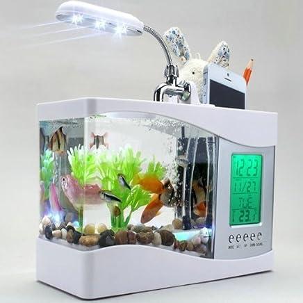 MFEIR pecera mini pecera con usb acuario acuarios ornamentales de biotipo,Blanco