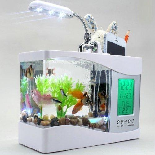 MFEIR Mini USB LCD aquarium pour poissons réservoir,Blanc