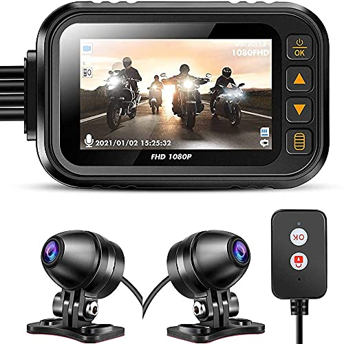 YINHA 3.0in Motorcycle Dash Cam, Motorcycle Video Driving Recorder Con1080P + 720p Dual Lens, Vision Notturno Impermeabile Vista Posteriore Azione Sport Action Camera