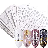 16 Sheets Silver Nail Art Stickers Metallic Nail Decals Water Transfer Nail Stickers Butterfly Flowers Letters Bow-Knot Leaves Star Moon Design Nail Decorations Kit