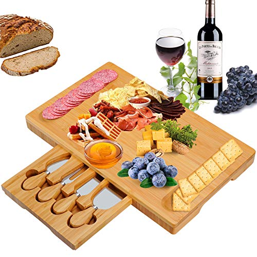 Olebes Bamboo Cheese Board and Knife Set with Slid-out Drawer - Wood Charcuterie Platter Serving Tray for for Wine, Meat & Crackers, Perfect for Wedding Anniversary Housewarming & Entertaining