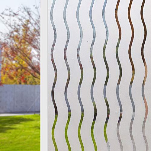 kalulu Folia maskująca okienko, folia z matowego szkła samoprzylepna statyczna naklejka, ochrona UV biała fala wzór do biura salonu lub kuchni (60 cm x 2 m)