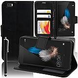 VCOMP Housse Coque Etui Portefeuille Support Video Livre Rabat Cuir PU pour Huawei P8lite ALE-L21/ P8lite ALE-L04 + Stylet - Noir