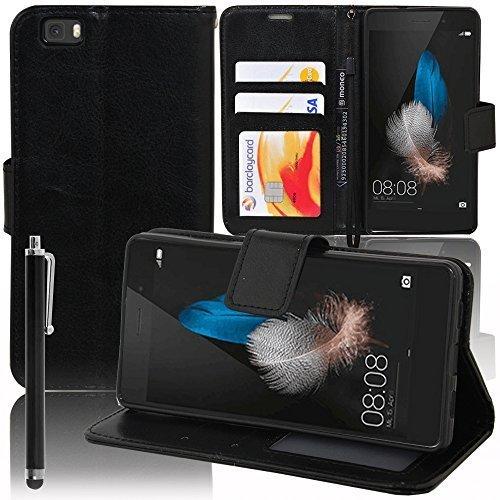 VCOMP® Housse Coque Etui Portefeuille Support Video Livre Rabat Cuir PU pour Huawei P8lite ALE-L21/ P8lite ALE-L04 + Stylet - Noir