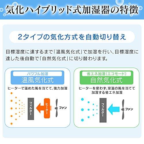 アイリスオーヤマ加湿器気化ハイブリッド式肌ナビ搭載ベージュARK-500-U