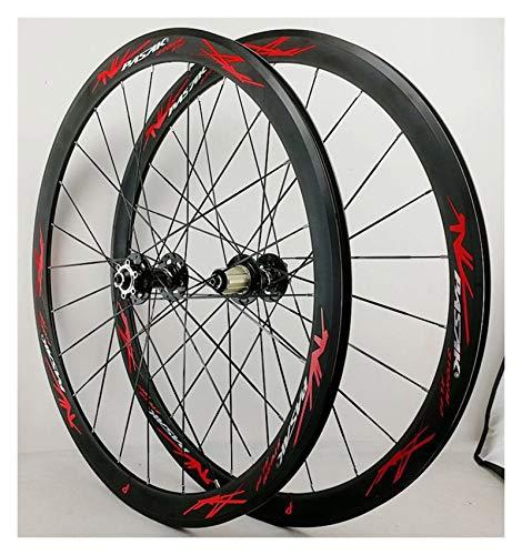 Hs&con 700C Road Bike Frontal Trasero Rueda de Bicicleta Doble Pared Aleación de Aluminio 40 mm Rim 7/8/9/10/11/12 Velocidad Freewheel Disc C/V Freno de liberación rápida (Size : 17)