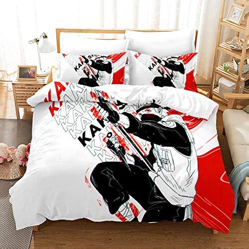 Copripiumino Anime Biancheria da letto Naruto,Rosso bianco lotta Paesaggio Copripiumino Set sportivo per bambini adulti,220x240cm