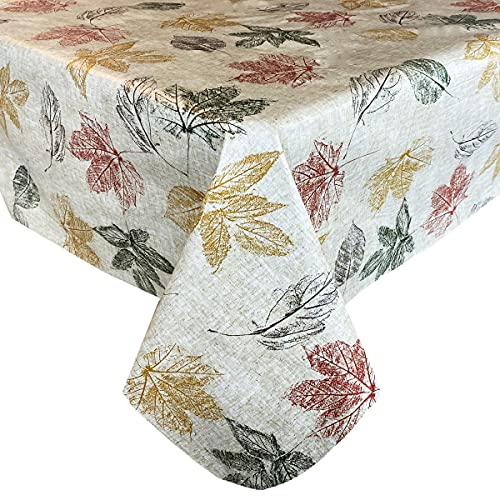 """Newbridge Stamped Abstract Autumn Leaves Print Vinyl Flannel Backed Tablecloth - Contemporary Fall Leaf Design Wipe Clean Easy Care Thanksgiving Tablecloth, 52"""" x 70"""" Oblong/Rectangle"""