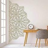 HGFDHG Pegatina de Pared de Media Mandala Zen Lotus Estilo Indio Dormitorio decoración de Muebles para el hogar Pegatina de Vinilo para Pared