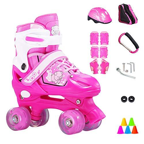 ZCRFY Inline-Skates Rollschuhe Verstellbare Zweireihige 4-Rad-Kinder Inline-Skates Roller Für Anfänger 2-15 Jahre Alte Kinder Eisschuhe Geburtstagsgeschenke,Pink-S(26-33) Code-Set1