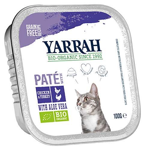 Yarrah Pate Huhn Truthahn Aloe Vera 100g Bio Katzenfutter, 16er Pack (16 x 100g)