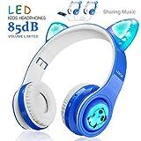 WOICE Drahtlose Bluetooth-Kinderkopfhörer, LED-Blinklichter, Musik-Sharing-Funktion, Over-Ear und...