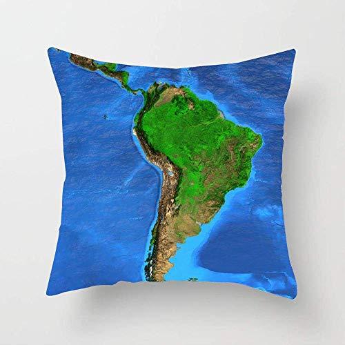 N\A Chile Plano detallado Vista satelital Tierra Formaciones terrestres Mapa del Sur Ciencia Amazonia Colombia Bosque Antena Funda de Almohada Cojín Cuadrado Funda de Almohada para sofá Cama