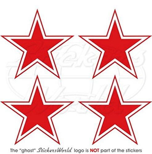 Lot de 4 autocollants en vinyle Motif étoile rouge 50 mm