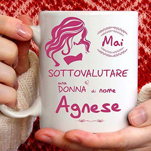 Taza Agnese divertida, apta para desayuno, té, tisana, café, capuchino. Gadget taza personalizada: Nunca subestimar a una mujer de nomeAgnese. También como idea de regalo original y simpática