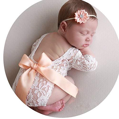 HO-TBO Ensemble de accessoires photo pour nouveau-né en dentelle, Coton, Blanc, S