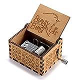 Huntmic Caja de música de madera de la Bella y la Bestia, de manivela clásica tallada de madera para...
