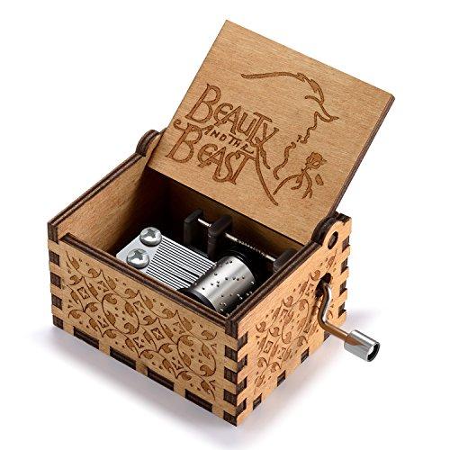 Huntmic Caja de música de madera de la Bella y la Bestia, de manivela clásica tallada de madera para cumpleaños para niños (madera)