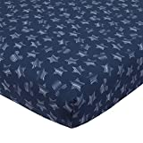 Hello World star crib sheet comes in navy blue with white striped stars and Mickey ear silhouette shapes. Matches with the Hello Work collections. This crib sheet is made of soft 100% Cotton fabrics. Elastic edges for a snug fit This crib sheet measu...